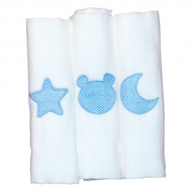 Gasas Algodón 100% 60x60 Bordada Azul