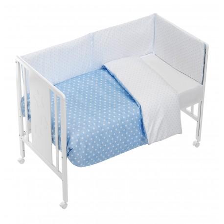 Edredón + Protector mibebestore -estrellitas-azul