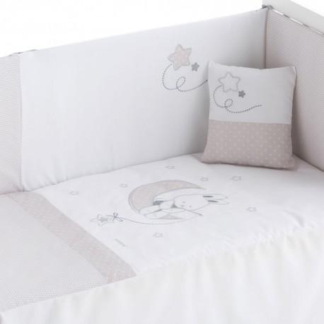 CUNA Edredón + protector + almohada - Blanco/Gris