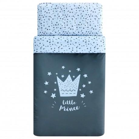 EdredónCuna + protector - Modelo Little crown Azul