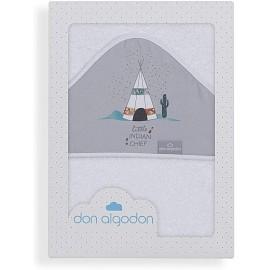 DON ALGODON Capa baño - Modelo Dakota blanco gris